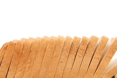 Stack of sliced white bread. Whole background. Place for text. photo