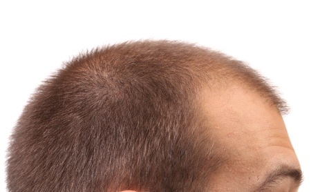 eyebrow trimming: Close up of mans head. Whole background.