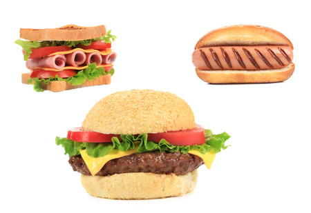 Three different kinds of fast foodood. Isolated on a white background photo