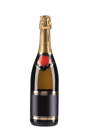 Champagne bottle with golden top   Isolated on white background photo