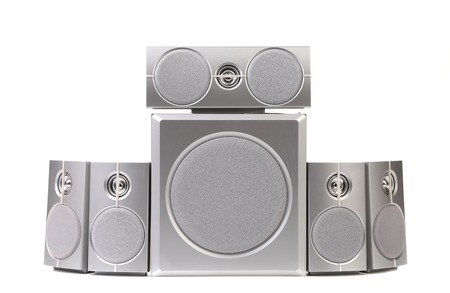 Set of gray sound speakers. Isolated on a white background. photo