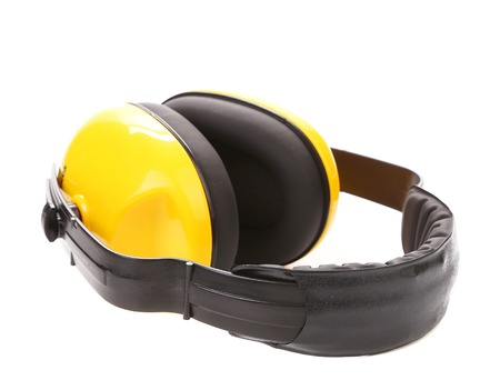 environmental protection: Yellow protective ear muffs. Isolated on a white background. Stock Photo