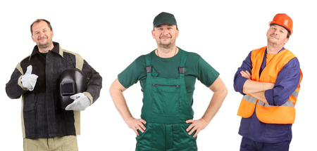Collage of three workers. Isolated on a white background. photo