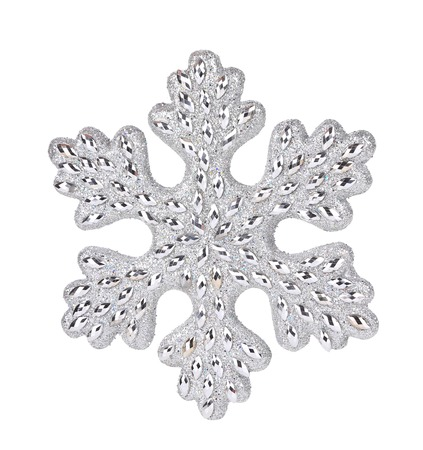 Silver snowflake decoration. Isolated on a white background. photo