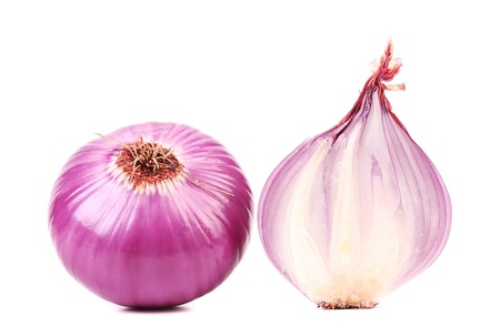 Red onions and slice. Isolated on a white background. photo