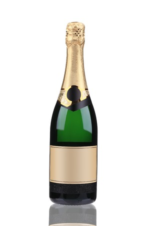Green bottle of champagne with golden top. Isolated on a white background. photo