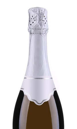 Bottle of champagne with white top. Close up Stock Photo - 25268072