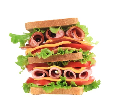 Fresh toast sandwich. Isolated on a white background. photo