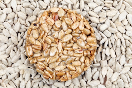 gozinaki: Sunflower seeds in sugar syrup. Whole background.