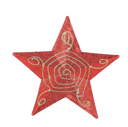 Red star christmas decoration. Isolated on a white background. photo
