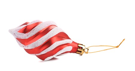 matt: Christmas red tree decoration. Isolated on a white .