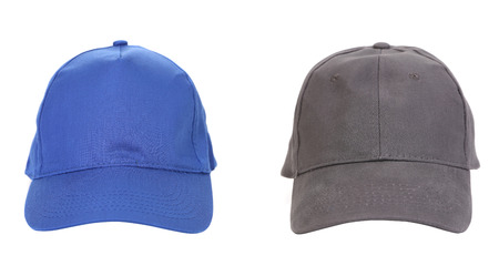 Blue and Gray working peaked caps  Isolated on a white  photo