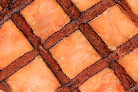 Close up of grilled salmon texture.  photo