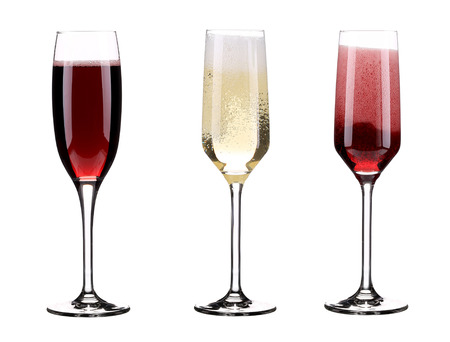 Three glasses of champagne. Isolated on a white background. photo