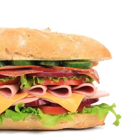 Fresh toast sandwich with ham and tomato. Whole background. photo