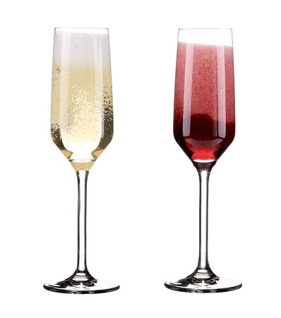 frothy: Pink and red champagne in glasses. Isolated on a white background. Stock Photo