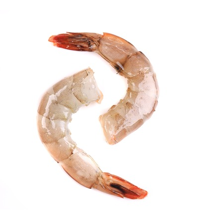 Raw shrimp isolated on a white background photo