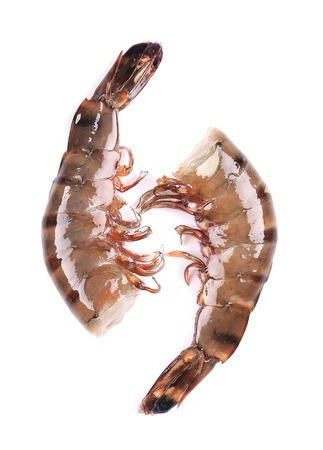 Two raw shrimps.   Isolated on white background photo