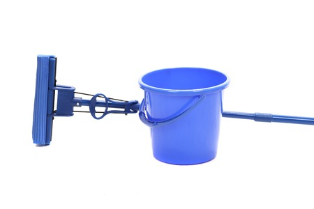 tidiness: Blue bucket with sponge mop. Isolated on a white background.