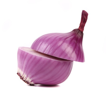 Cutted red onion. Isolated on a white background. Stock Photo - 25807524