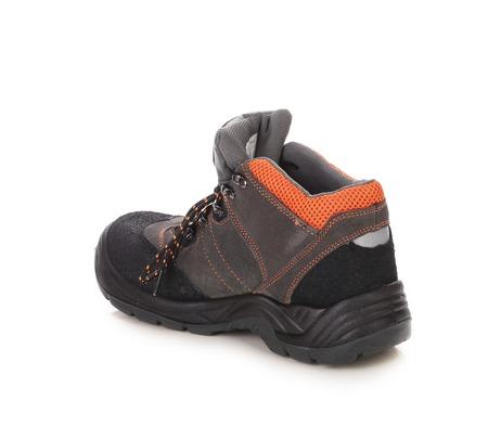 inset: Black mans boot with orange inset. Stock Photo