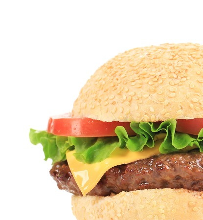 big hamburger isolated on a white background photo