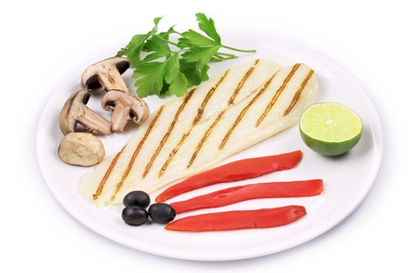 pangasius: Grilled pangasius fillet on plate. Isolated on a white background.