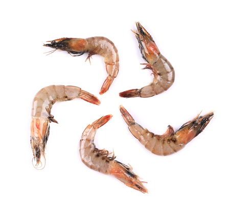 Some raw shrimp isolated on a white background photo
