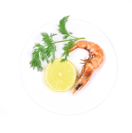Close up of fresh boiled shrimp. Isolated on white background. photo