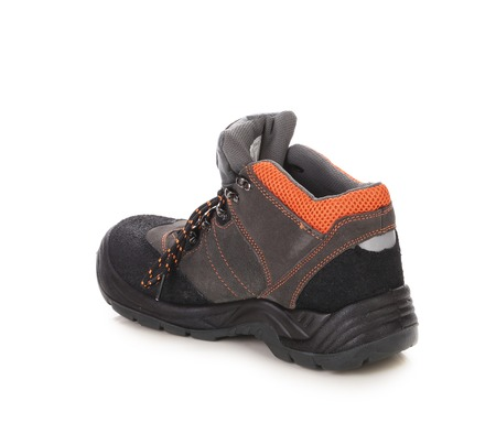 inset: Black mans boot with orange inset. Isolated on a white background.