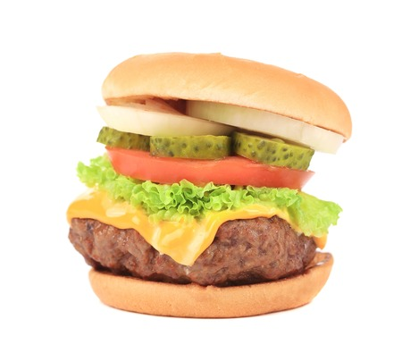 Hamburger with cheese and meat. Isolated on a white background. Stock Photo