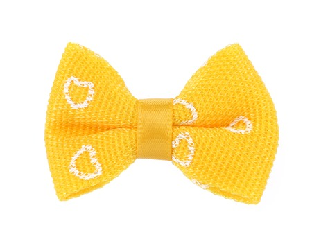 yellow bow tie isolated on white background photo