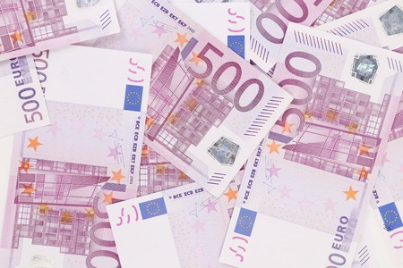 five  hundred euro pile as background Stock Photo