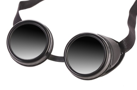 protecting spectacles: Black goggles. Isolated on a white background.