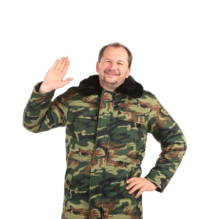 security guard wearing green uniform on a white backgrounde photo