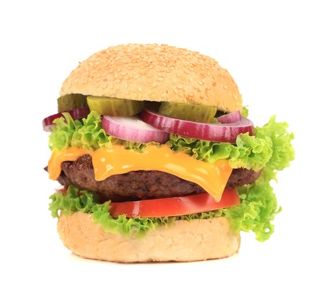 Close up of tasty hamburger. Isolated on a white. photo
