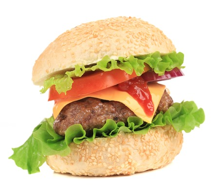 Yummy hamburger. Isolated on a white. photo