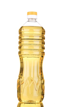 Bottle of sunflower oil. Isolated on a white. photo