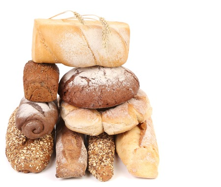 Different types of bread. Isolated on a white. photo