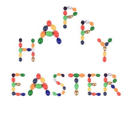Happy Easter sign for holiday. Isolated on a white background. photo