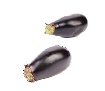 Two large eggplant. Isolated on a white background. photo