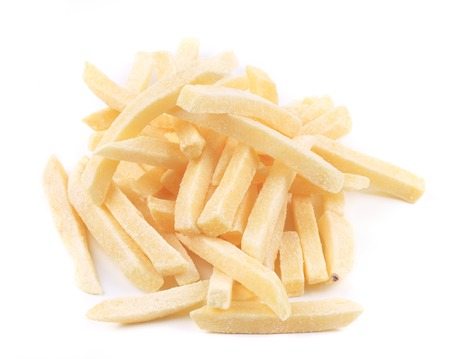 Frozen french fries. Isolated on a white background.