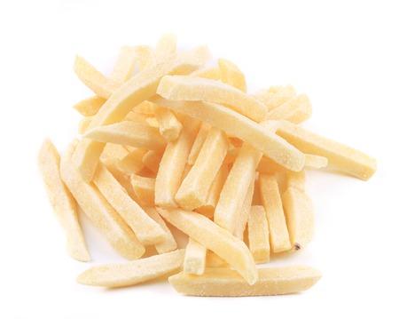 Patatine fritte surgelate. Isolato su uno sfondo bianco. Archivio Fotografico