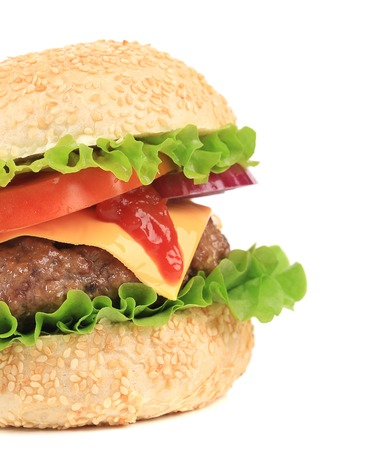 Big hamburger isolated on white. Whole background. photo