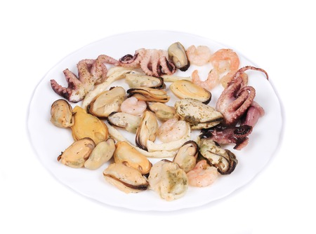 Close up of seafood products. Isolated on a white background. photo