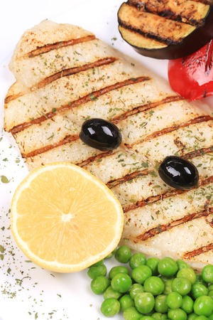pangasius: Pangasius fillet grilled with vegetables.