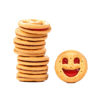 Stack of smile biscuits. photo