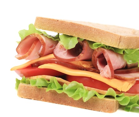Toast sandwich with ham. Isolated on a white background. photo