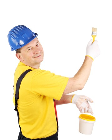 overall: Smiling man in overall. Isolated on a white background.
