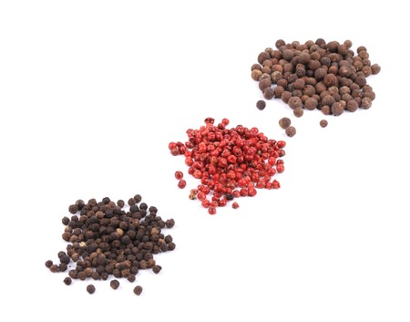 set of pepper heaps isolated on white background photo